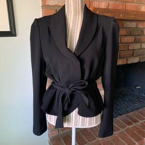 L.K. Bennett Black Wool Blazer Jacket Belted Sz 14